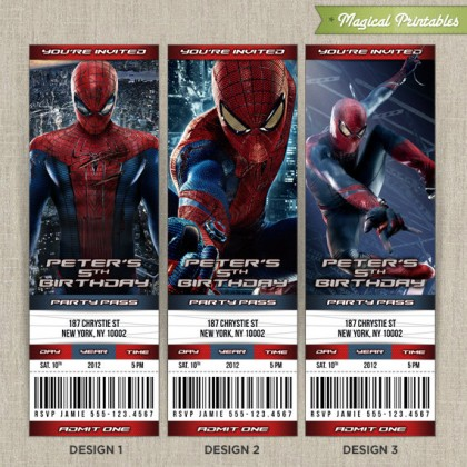 Personalized Amazing Spiderman Birthday Ticket Invitation Card