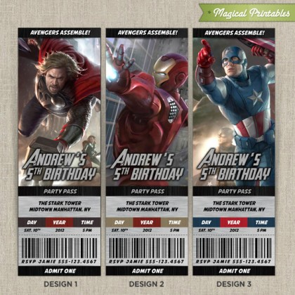 Personalized Avengers Birthday Ticket Invitation Card