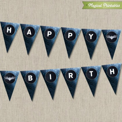 Batman The Dark Knight Printable Happy Birthday Banner