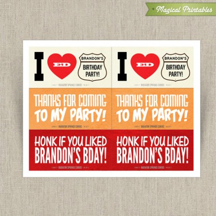Disney Cars Printable Birthday Thank You Labels