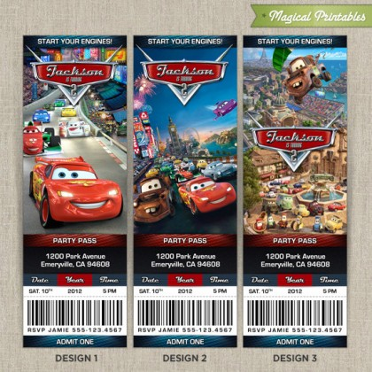 Personalized Disney CARS 2 Birthday Ticket Invitation Card - Lightning Mc Queen and Mater