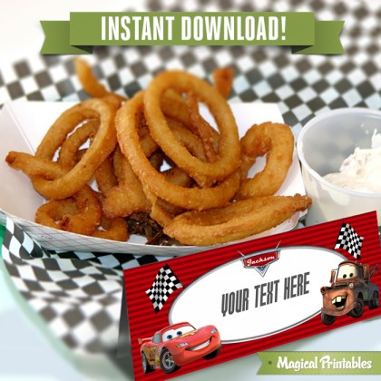 Disney Cars 2 Editable Birthday Food Labels - Tent Cards