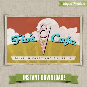 Disney Cars Flo's Cafe Printable Sign
