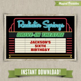 Disney Cars Radiator Springs Drive-In Sign - Edit and print at home with Adobe Reader
