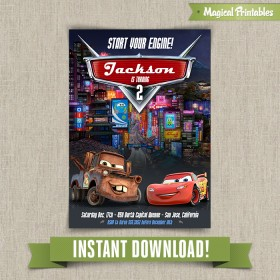Disney Cars 2 Printable Birthday Invitation - Edit and print at home with Adobe Reader!
