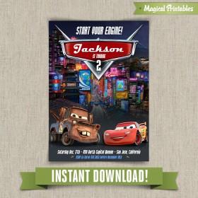 Disney Cars 2 Printable Birthday Invitation - Edit and print at home with Adobe Reader!