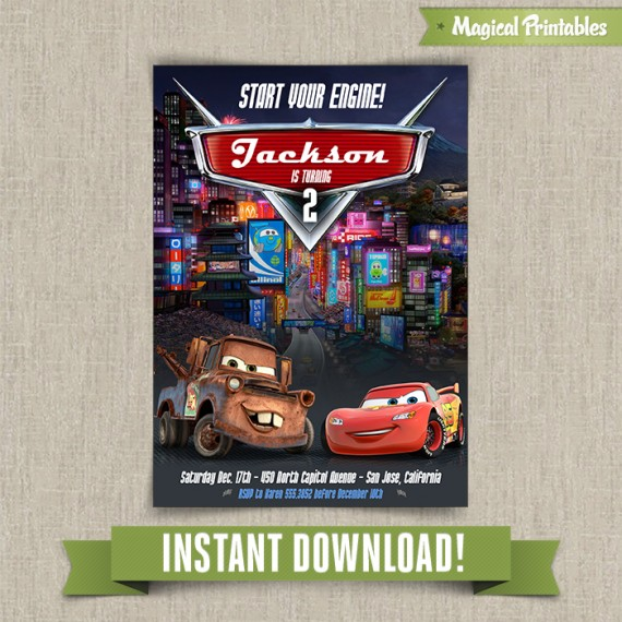 Disney Cars 2 Printable Birthday Invitation Edit And Print At Home