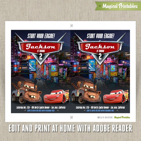 Disney Cars 2 Printable Birthday Invitation