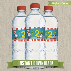 Dr Seuss Cat in the Hat Printable Birthday Bottle Labels - Instant Download!