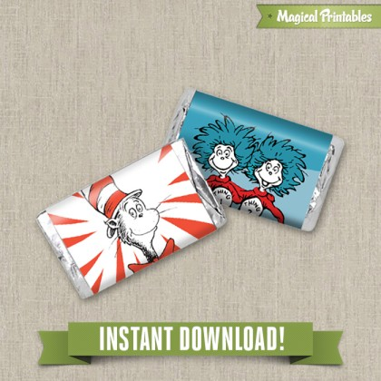 Dr Seuss Cat in the Hat Printable Birthday Mini Hershey's Wrappers - Instant Download!