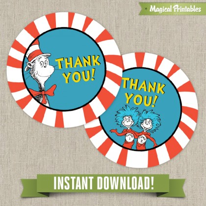 Dr Seuss Cat in the Hat Printable Birthday Favor Tags - Instant Download!