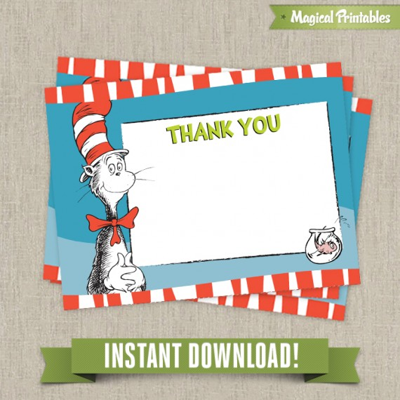 Dr seuss cat in the hat editable birthday thank you cards for Dr seuss birthday card template