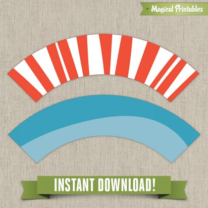 Dr Seuss Cat in the Hat Printable Birthday Cupcake Wrappers - Instant Download!
