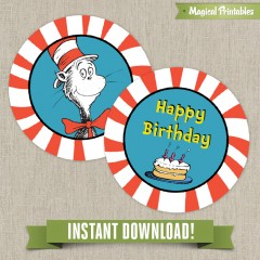 Dr Seuss Cat in the Hat Editable Birthday Labels - Instant Download!