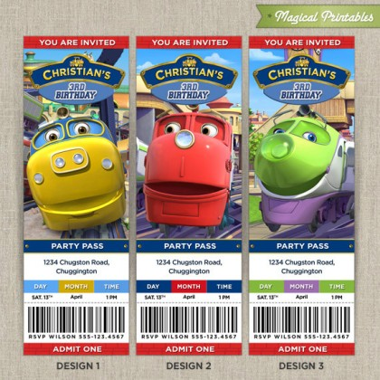 Personalized CHUGGINGTON Birthday Ticket Invitation Cards (Choose 3 designs at NO extra charge)