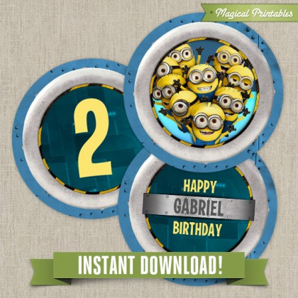 Despicable Me Editable Birthday Labels - Instant Download!