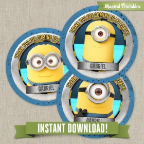 Despicable Me Editable Favor Tags - Instant Download!