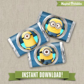 Despicable Me Editable Birthday Mini Hershey's Wrappers - Instant Download!