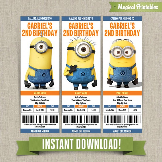 Despicable Me Minions Birthday Ticket Invitations Instant Download