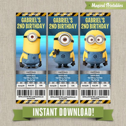 Despicable Me Minions Birthday Ticket Invitations (Lab Set) - Instant Download! Edit and print with Adobe Reader