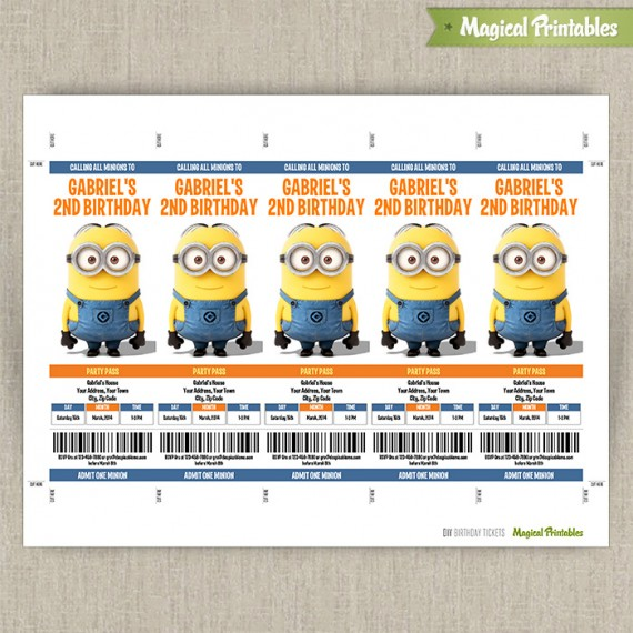 Despicable Me Minions Birthday Ticket Invitations