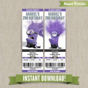 Despicable Me Evil Minions Birthday Ticket Invitations - Instant Download!