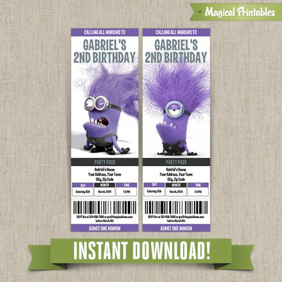 Me Evil Minions Birthday Ticket Invitations  Instant Download