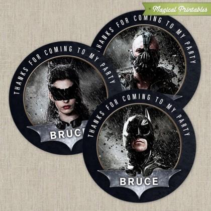 Batman The Dark Knight Printable Birthday Favor Tag Labels