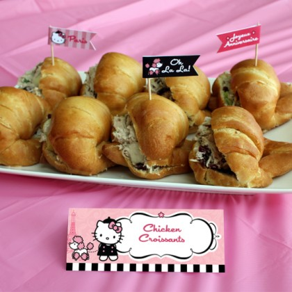 Hello Kitty with French Poddle Paris Editable Tent Cards