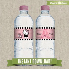 Hello Kitty Paris Printable Birthday Bottle Labels - Instant Download!