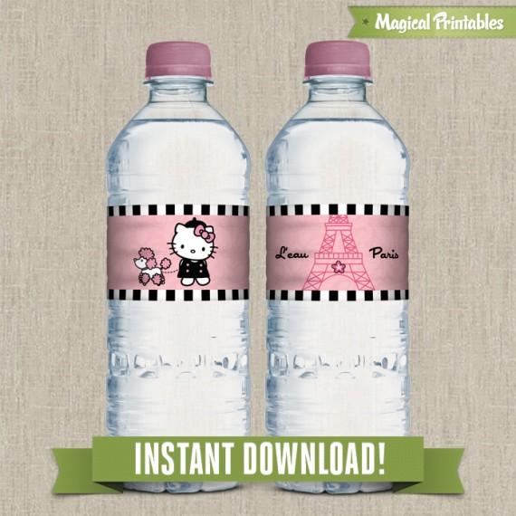Hello Kitty Paris Printable Birthday Bottle Labels