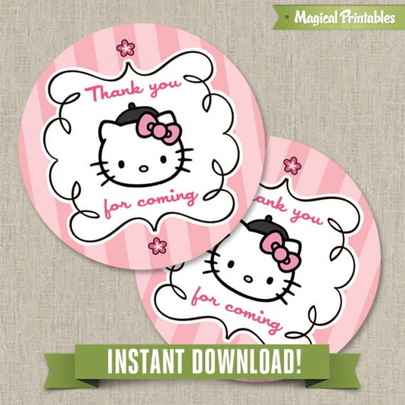 image relating to Printable Birthday Tags titled Howdy Kitty Paris Printable Birthday Desire Tag Labels - Fast Down load