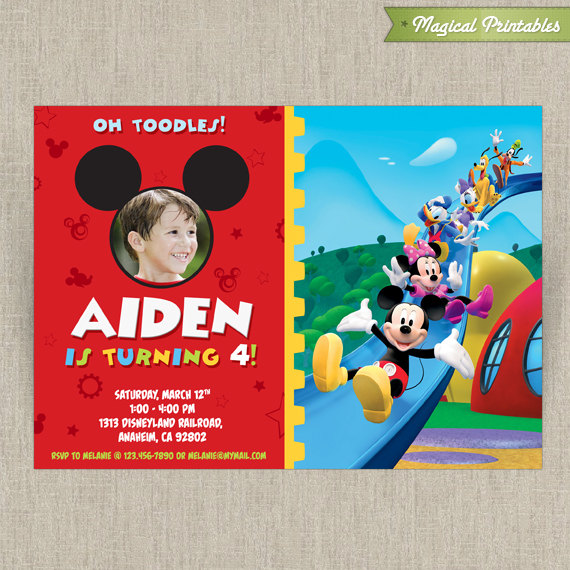 disney mickey mouse clubhouse customizable printable party invitation with photo