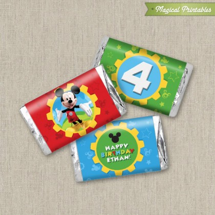 Disney Mickey Mouse Clubhouse Printable Birthday Mini Hershey's Wrappers