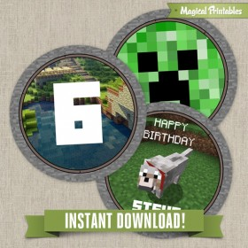 Minecraft Editable Birthday Labels - Instant Download!
