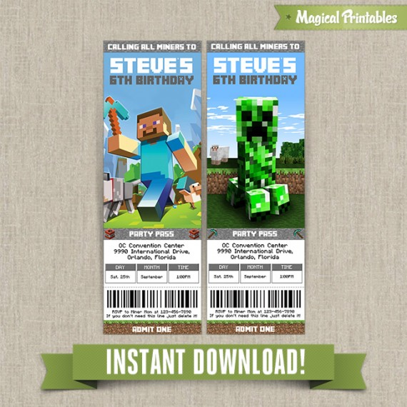 minecraft birthday ticket invitations instant download
