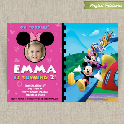Disney Minnie Mouse Customizable Printable Party Invitation - With photo