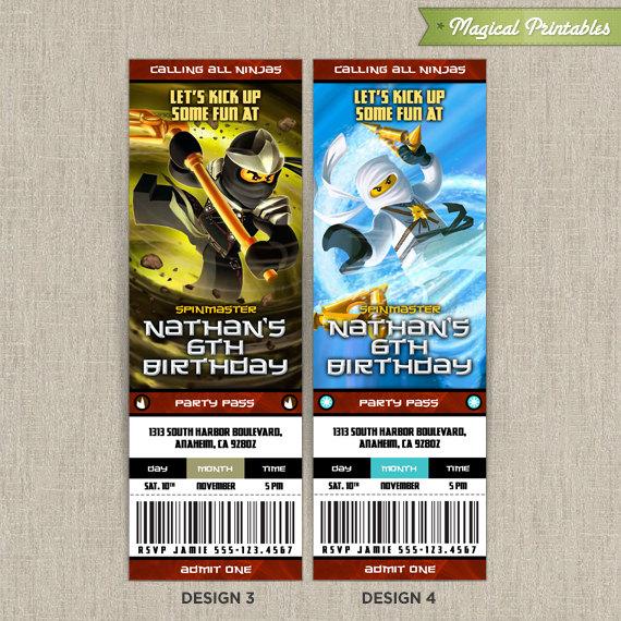 Lego NinjaGo Birthday Ticket Invitation