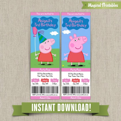 Peppa Pig Birthday Ticket Invitations - Instant Download! Edit and print with Adobe Reader