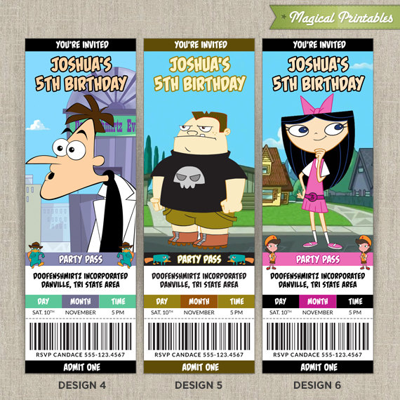 Disney Phineas and Ferb Birthday Ticket Invitation Card – Phineas and Ferb Birthday Card