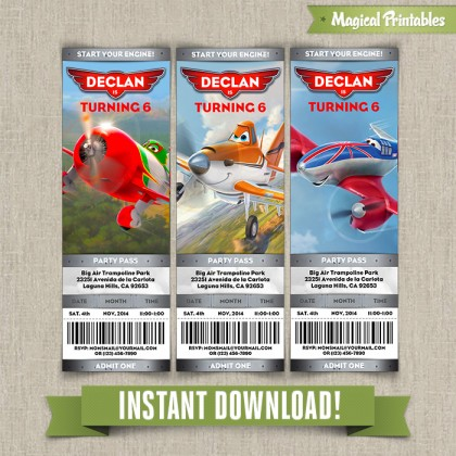Disney Planes Birthday Ticket Invitations - Instant Download! Edit and print with Adobe Reader