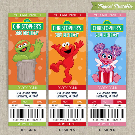 Sesame Street Birthday Ticket Invitation Cards
