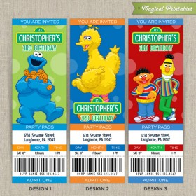 Personalized SESAME STREET Birthday Ticket Invitation Cards