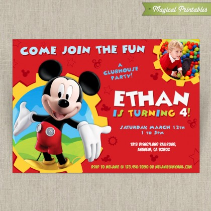 Disney Mickey Mouse Clubhouse Customizable Printable Party Invitation - With or without photo