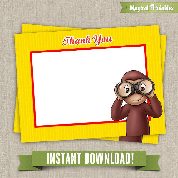 Amazing Curious George Blank Birthday Thank You Cards Personalised Birthday Cards Veneteletsinfo