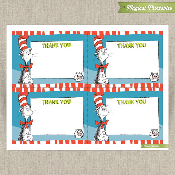 Seuss Cat in The Hat Editable Birthday Thank you Cards - Instant ...