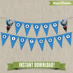 Thomas the Train Happy Birthday Banner (Set 2) - Instant Download!