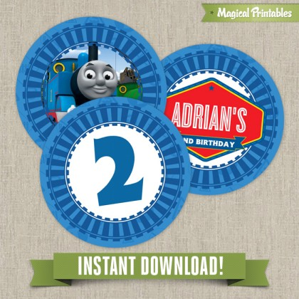 Thomas the Train Editable Birthday Labels (Set 2) - Instant Download!