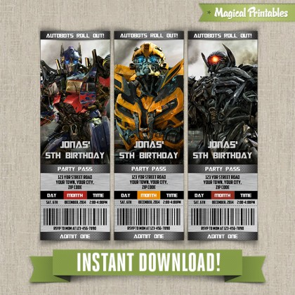 Transformers Birthday Ticket Invitation - Instant Download!