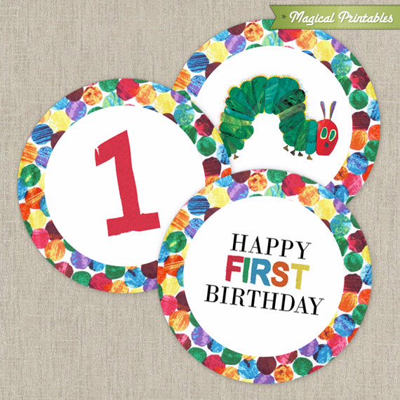 Very Hungry Caterpillar Printable Birthday 2 in. Labels